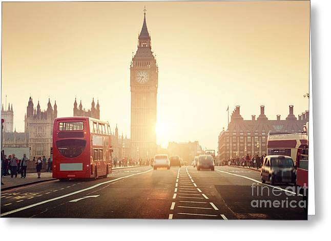 Westminster Bridge At Sunset, London, Uk Greeting Card