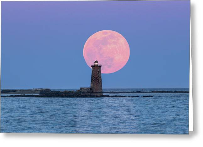 Whaleback And The Worm Moon Greeting Card