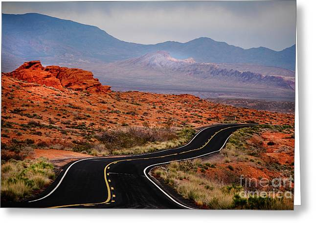 Winding Road In Valley Of Fire Greeting Card