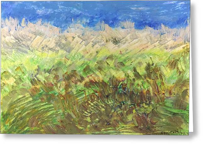 Greeting Card featuring the painting Windy Fields by Norma Duch