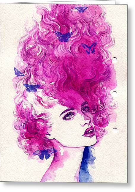 Woman Face. Hand Painted Fashion Greeting Card