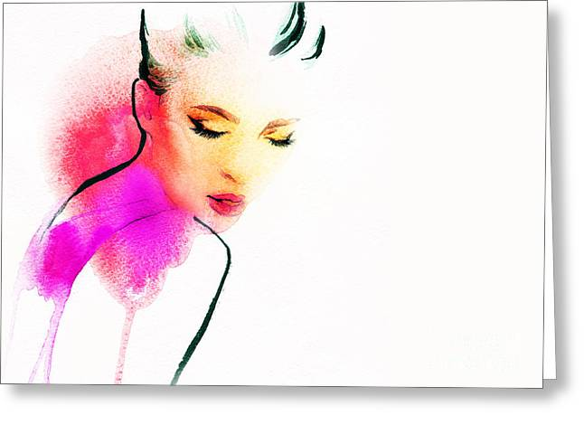 Woman Portrait .abstract Watercolor Greeting Card