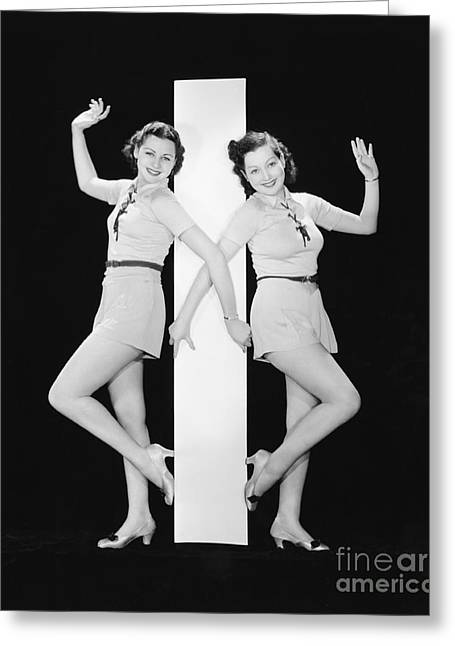 Women Posing With Big Letter I Greeting Card by Everett Collection