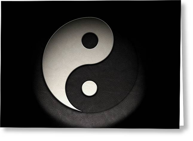 Greeting Card featuring the photograph Yin Yang Symbol Leather Texture by Brian Carson