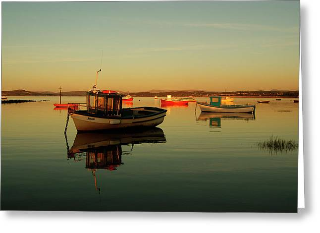 10/11/13 Morecambe. Boats On The Bay. Greeting Card