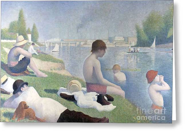Bathers At Asnieres Greeting Card