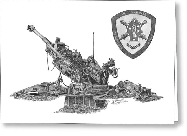Greeting Card featuring the drawing 10th Marines 777 by Betsy Hackett