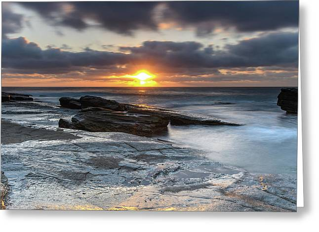 A Moody Sunrise Seascape Greeting Card