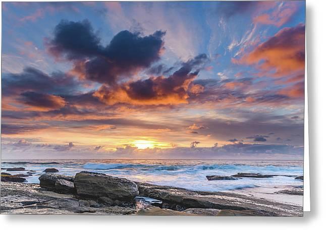 An Atmospheric Sunrise Seascape Greeting Card