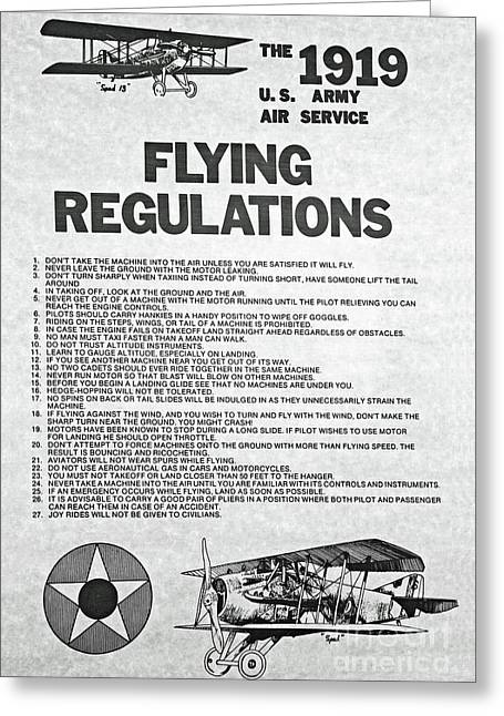 1919 Flying Regulations Poster Greeting Card