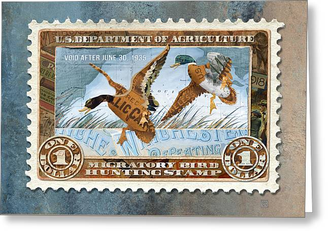 1934 Hunting Stamp Collage Greeting Card