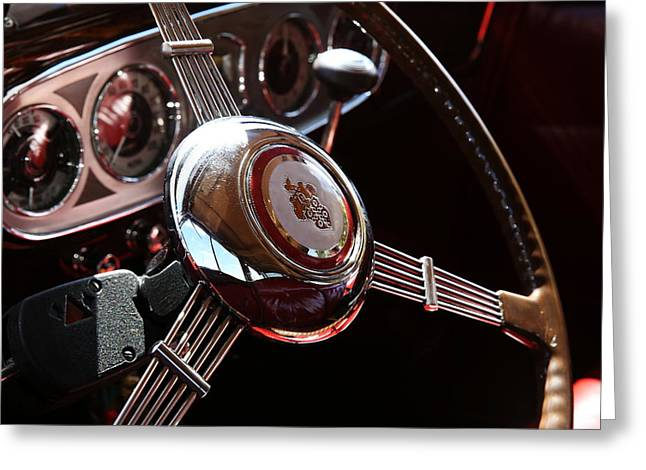 Greeting Card featuring the photograph 1937 Vintage Model 1508 Steering Wheel by Debi Dalio