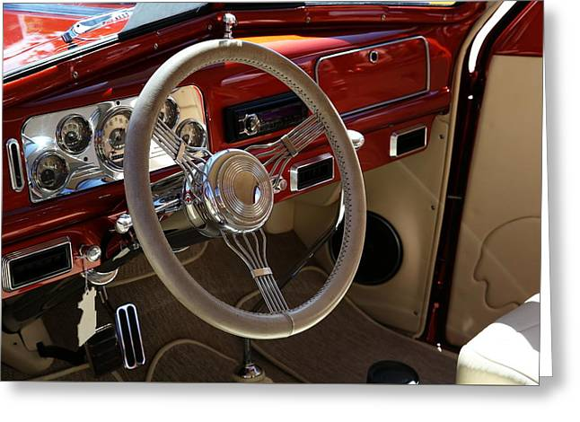 Greeting Card featuring the photograph 1938 Pontiac Silver Streak Interior by Debi Dalio