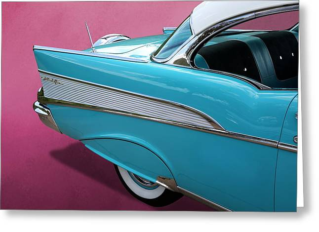 Greeting Card featuring the photograph Turquoise 1957 Chevrolet Bel Air by Debi Dalio