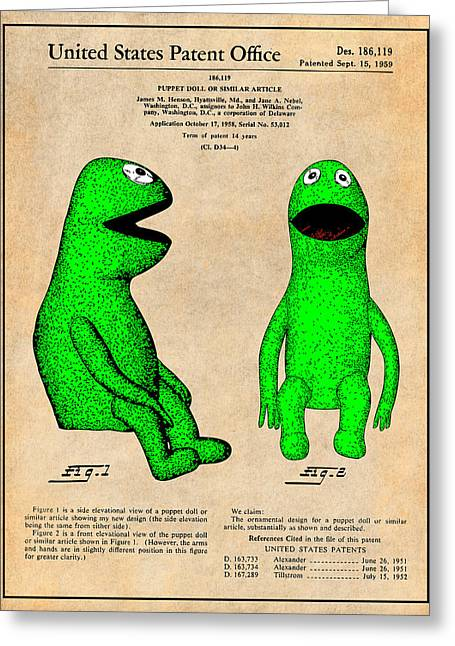 Kermit the frog greeting cards fine art america 1959 kermit the frog jim henson muppet patent print antique paper greeting card m4hsunfo
