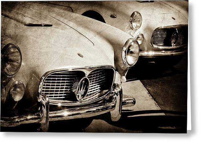1960 Maserati Grille Emblem-1098scl3 Greeting Card