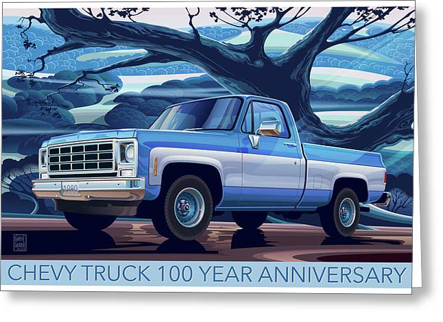 1980 Chevy Custom C10 Short Bed Poster Art Greeting Card