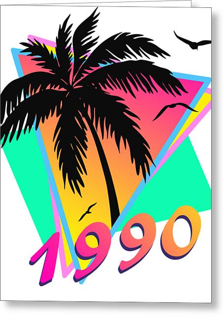 1990 Cool Tropical Sunset Greeting Card