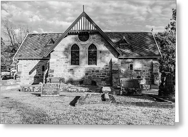 19th Century Sandstone Church In Black And White Greeting Card