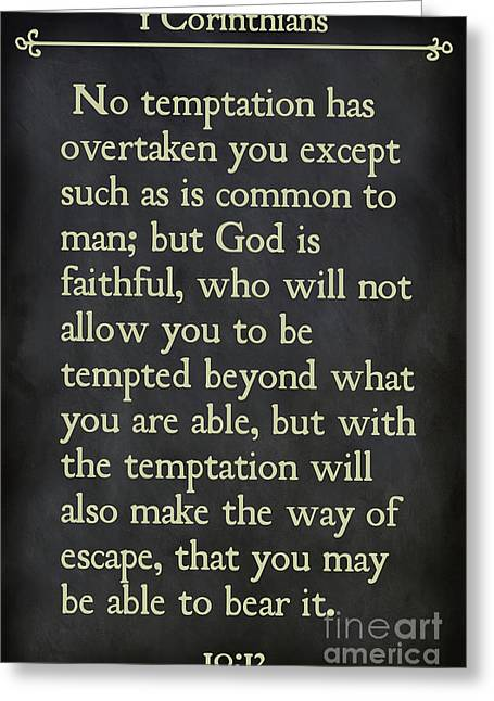 1 Corinthians 10 13- Inspirational Quotes Wall Art Collection Greeting Card