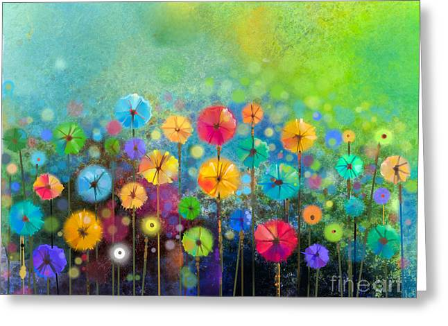 Abstract Floral Watercolor Painting Greeting Card