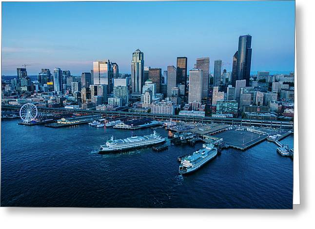 Aerial View Of A City, Seattle, King Greeting Card