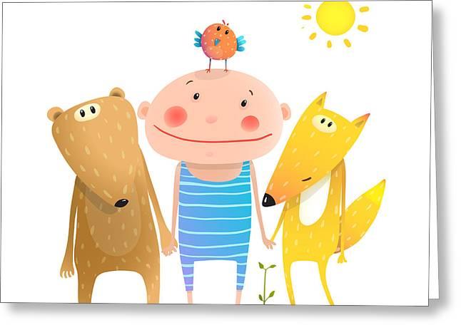 Animals And Child Friends Fox Bear Bird Greeting Card