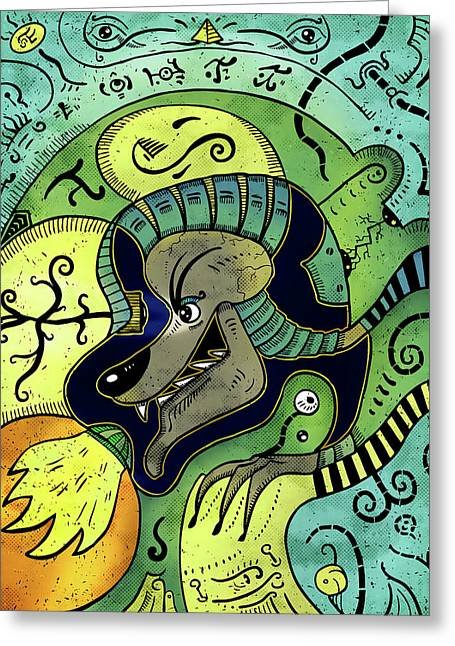 Greeting Card featuring the digital art Anubis by Sotuland Art