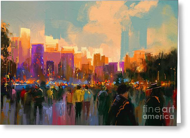 Beautiful Painting Of People In A City Greeting Card
