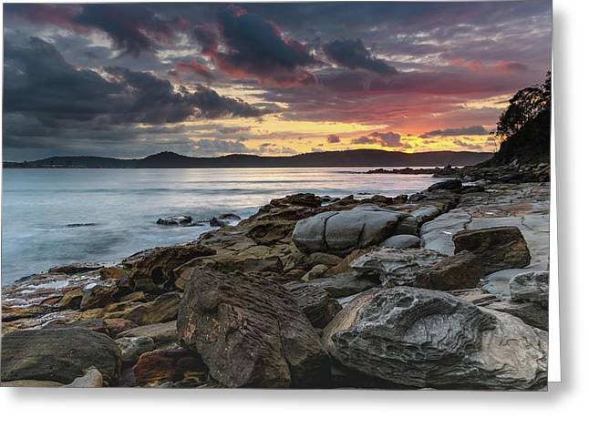 Colours Of A Stormy Sunrise Seascape Greeting Card