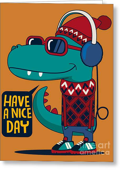 Cool Dinosaur Character Design Greeting Card by Braingraph