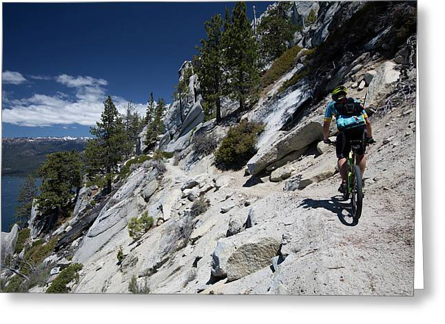 Cyclist On Mountain Road, Lake Tahoe Greeting Card