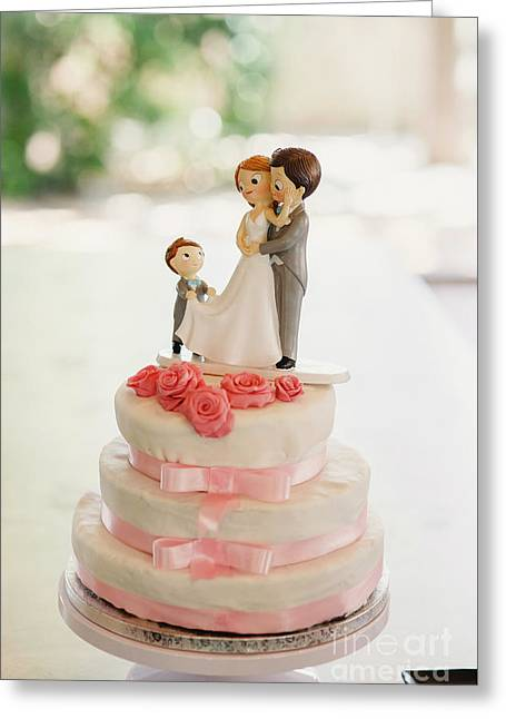 Desserts And Wedding Cake With Very Sweet Cupcakes At An Event. Greeting Card