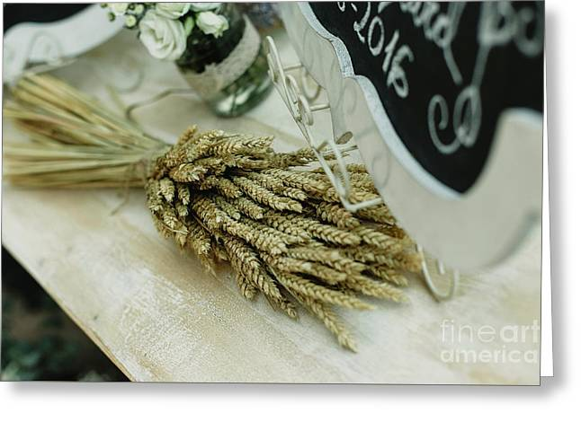 Floral Decorations In The Spaces Of A Wedding Restaurant. Greeting Card