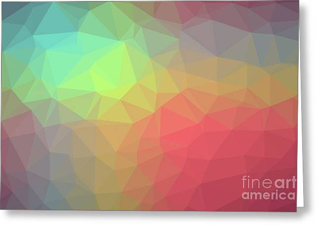 Gradient Background With Mosaic Shape Of Triangular And Square C Greeting Card