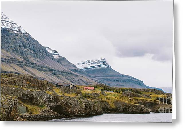 High Icelandic Or Scottish Mountain Landscape With High Peaks And Dramatic Colors Greeting Card