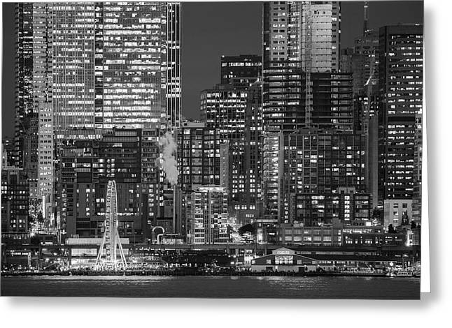 Illuminated City At Night, Seattle Greeting Card