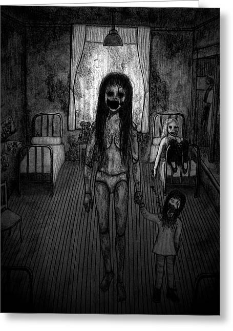 Jessica And Her Broken Doll - Artwork Greeting Card