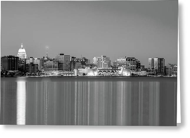 Madison Skyline In Black And White Greeting Card