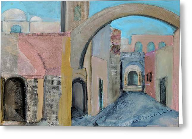 Greeting Card featuring the painting Old City by Jillian Goldberg