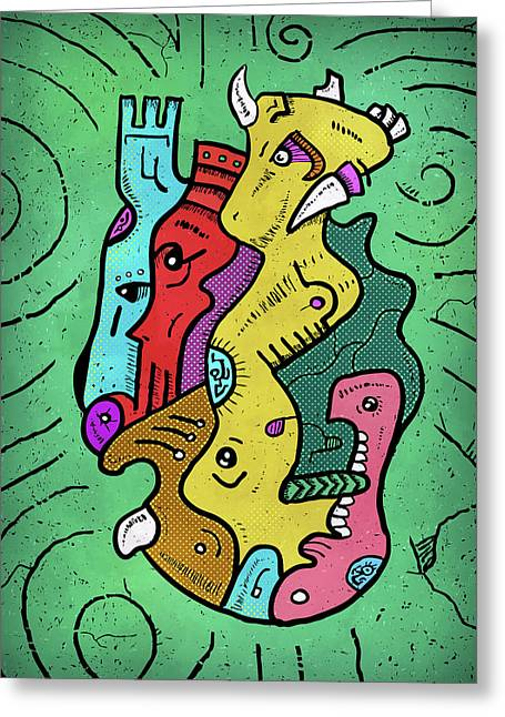 Greeting Card featuring the digital art Psychedelic Animals by Sotuland Art