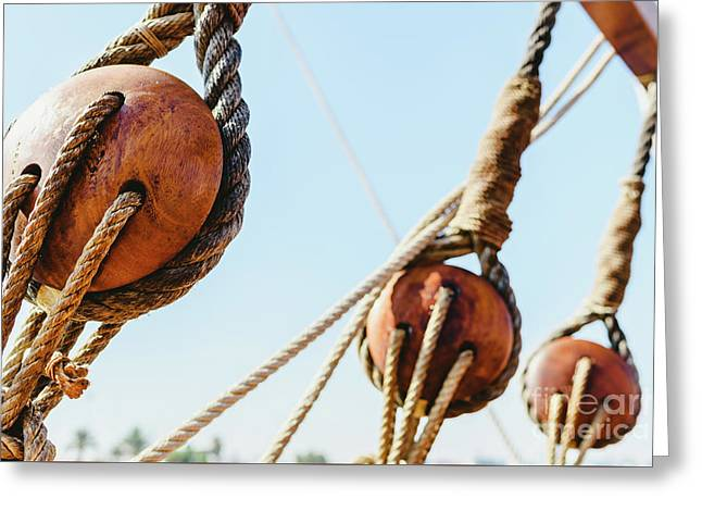 Rigging And Ropes On An Old Sailing Ship To Sail In Summer. Greeting Card