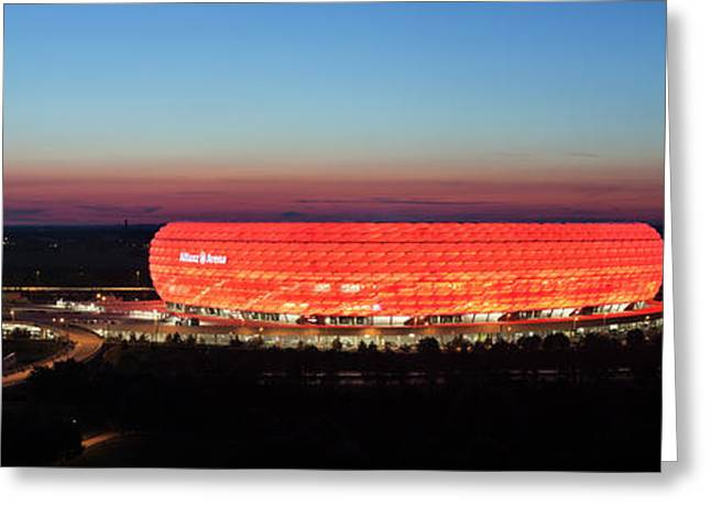 Soccer Stadium Lit Up At Dusk, Allianz Greeting Card