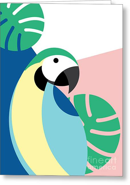 Tropical Bird In Abstract Geometric Greeting Card
