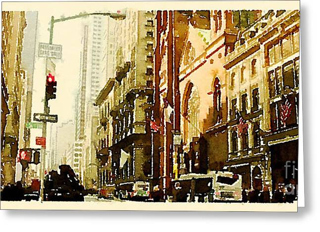 Water Color New York City Scene Greeting Card