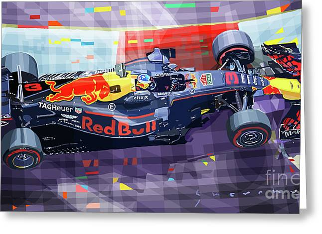 2017 Singapore Gp F1 Ricciardo   Greeting Card by Yuriy Shevchuk