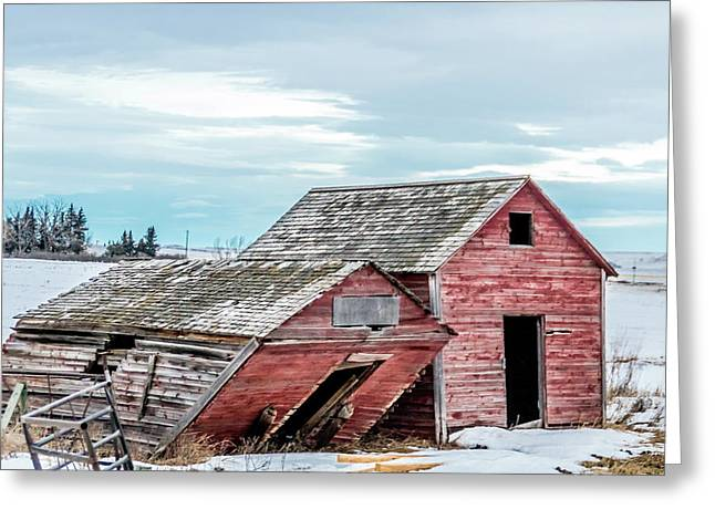 A Sign Of The Times, Run Diown Farm Out Buildings And Barns, Alb Greeting Card