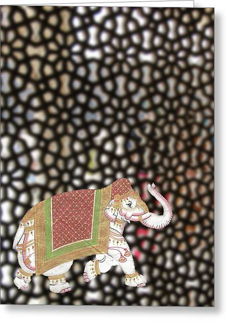 Caparisoned Elephants  Greeting Card