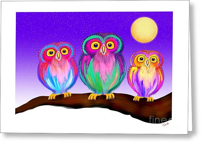 3 Colorful Little Owls Greeting Card