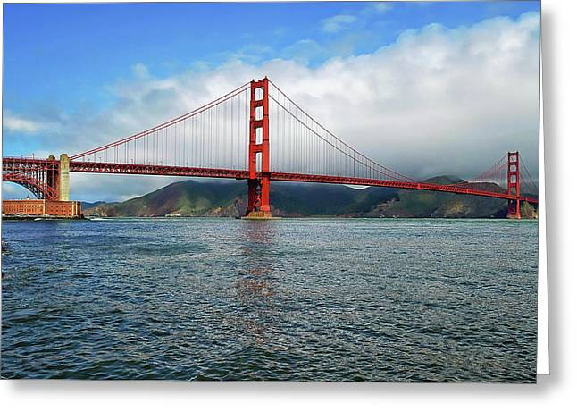 Greeting Card featuring the photograph Golden Gate Bridge by Anthony Dezenzio